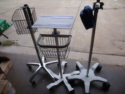 3 Medical Patient Fixed Height Rolling Cart Roll Stand GCX Polymount & More L6