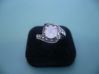 Rainbow Moonstone & Marcasite Gemstone Ring Size In Sterling Silver 8 Q - 3G