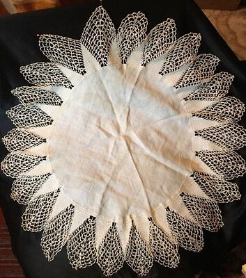 "1920s LINEN & Crocheted LACE Table Topper, Large Doily~Ivory On Ivory~25""~Lovely"
