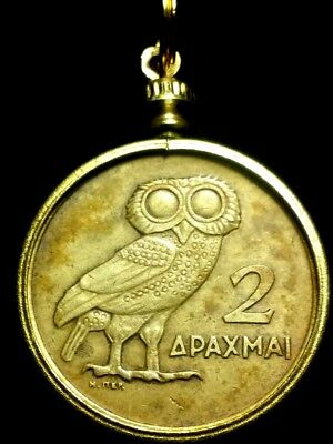 Owl + Phoenix -- Authentic Greek Greece Coin Pendant Charm 25mm -- Brass Frame