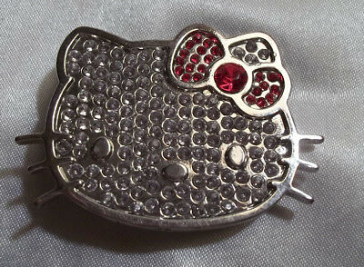 Hello Kitty Belt Buckle Silver Color w/ Red Bow 1 Inch Loop ~5a