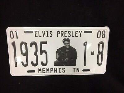 Elvis Presley 1935 License Plate The King Memphis White Metal Standard NEW