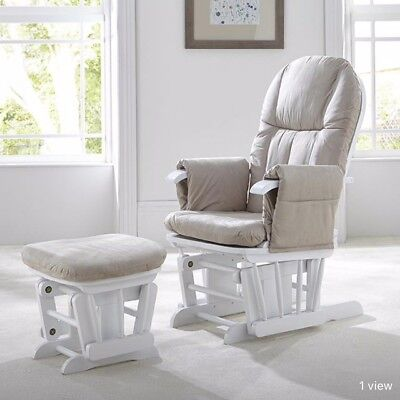 Nursing Glider Maternity Rocking Chair With Stool White Wood Frame