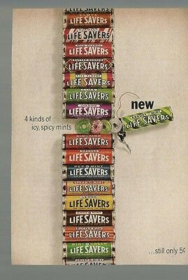 Vintage 1964 Life Savers Candy Magazine Print Ad 4 Kinds of Icy,Spicy Mints VGd