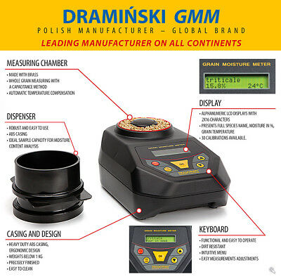 DRAMINSKI GMM Grain Moisture Meter Portable Test Grain in the Field Easy to Use
