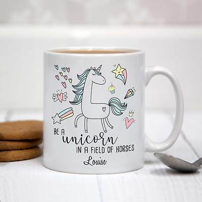 Personalised White Ceramic Mug - Be a Unicorn in a Field of Horses