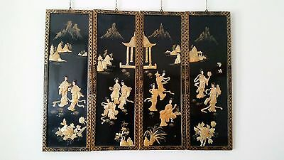 Chinese black lacquer wall panels