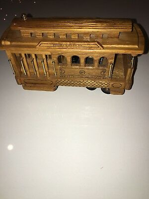 Vintage Wooden San Francisco Trolley Car Music Box-Powell & Hyde Streets-Works!