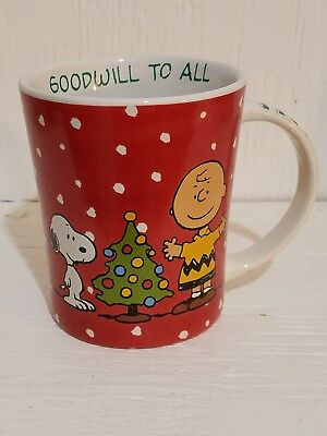"""Goodwill to All"" Snoopy Charlie Brown Christmas Mug 12oz. Mug, Cup, NEW"