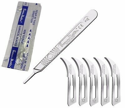 5 Swann Morton Scalpel Blades #12 with #3 Metal Handle Suitable for Dermaplaning