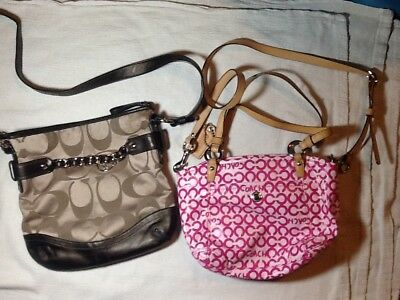 Coach lot of med size canvas/canvas coated tan/pink monogrammed cross body bags