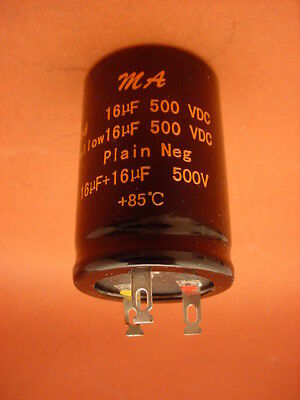 16 uF + 16 uF / 500 VOLT CAN DUAL ELECTROLYTIC CAPACITOR * 85 Deg. C * NEW *
