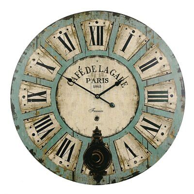 EXTRA LARGE SHABBY CHIC WALL CLOCK 60CM ANTIQUE VINTAGE STYLE Diameter 60cm NEW