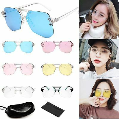 Sunglasses Oversized Lozenge Rimless Women Fashion Optics Metal Frame Eyewear