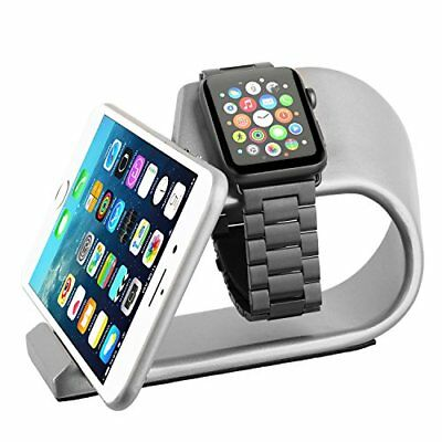 High Quality Aluminum 2 in 1 Charging Dock Stand f/ Apple iWatch & iPhone Silver