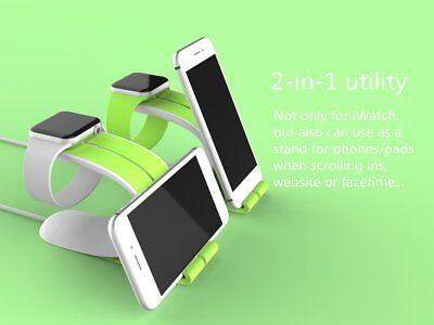 High Quality Silicone 2 in 1 Charging Dock Stand for Apple iWatch & iPhone Green