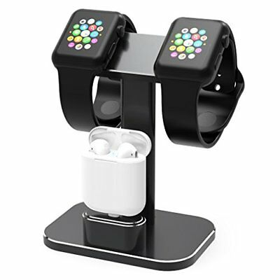 Aluminum 2 in 1 Charging Dock Stand for Apple iWatch Series 1/2 & Airpods Black