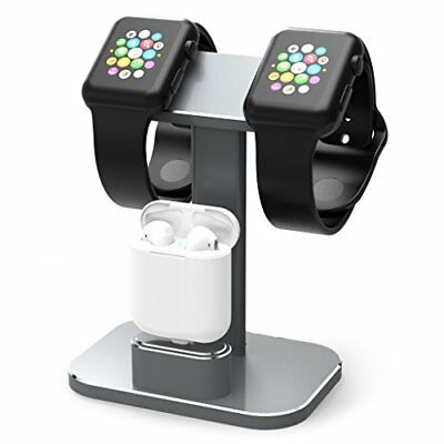 Aluminum 2 in 1 Charging Dock Stand for Apple iWatch Series 1/2 & Airpods Gray