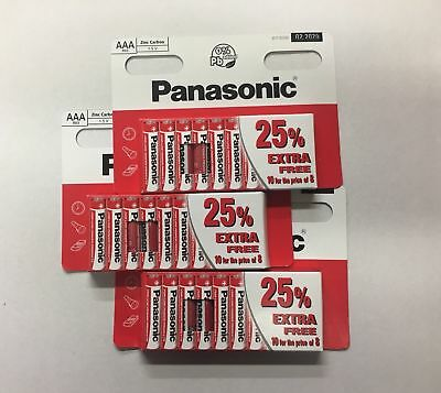 30 x AAA Genuine Panasonic  Zinc Carbon Batteries - New R6 1.5V Expiry 02/2020