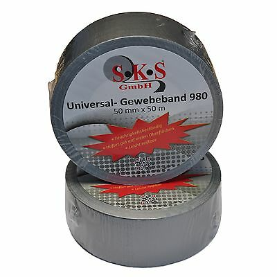 12 Roll SKS 980 Universal Woven Tape Silver 50mm x 50m Duct Tape