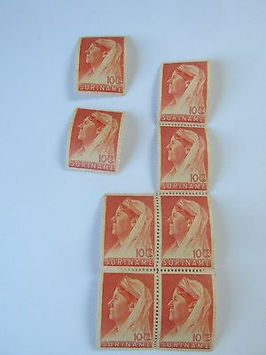 8 1936 Suriname 10 cent stamps Unposted