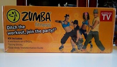 Zumba Fitness Kit. 2Toning Sticks. 4 Fitness DVDS, Workout Guide. NEW AND SEALED