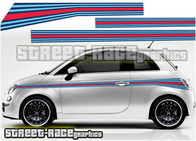 Fiat 500 side racing stripes 052 Martini style decals vinyl graphics stickers