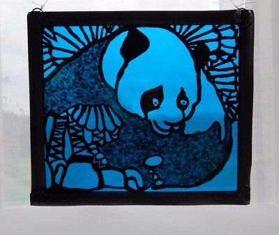 Stained Glass Painted Leaded Panel. Panda on Bright Blue Glass.Handmade