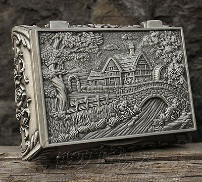Exquisite old chinese tibet silver carved home bridge Trinket/jewel box