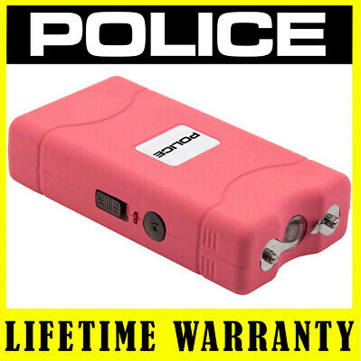 POLICE PINK Stun Gun 800 50 BV Rechargeable With LED Flashlight + Taser Case