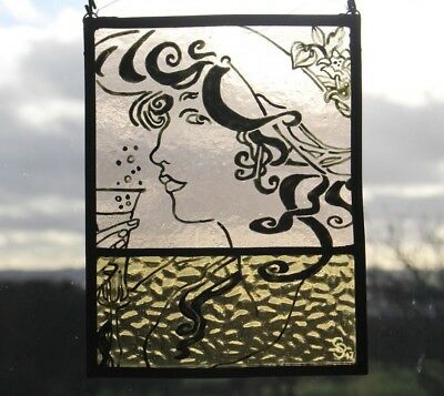 Stained Glass Painted Panel. Art Nouveau Mucha Style Glamorous Woman. Handmade