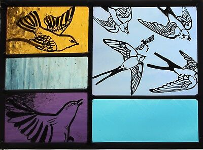 Stained Glass Painted Panel. Summer Birds and Swallows in Flight. Hand made