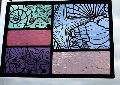 Stained Glass Painted Panel.Summer Rockpools with Starfish and Shells. Hand Made