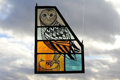 Stained Glass Owl Panel on Woodland Green and Orange Glass. Hand Painted