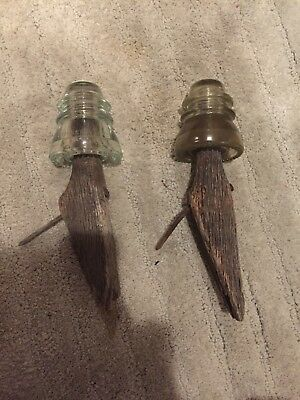 Lot Of 2 Vintage Antique Side Mount Glass Insulator Pegs Pins Wood With Insulat.