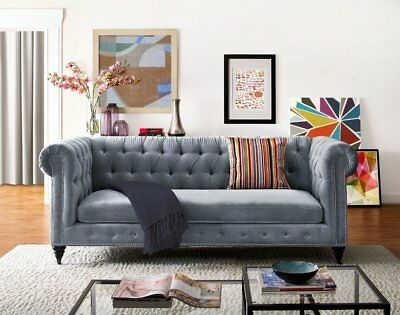 Velvet Tufted Couch Mid Century Sofa Chesterfield Modern, Antique French Look