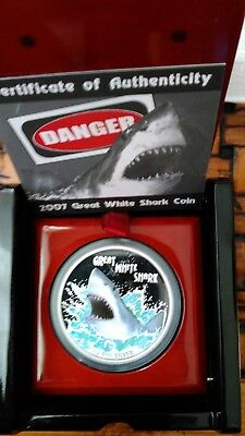 Tuvalu GREAT WHITE SHARK Perth Mint 1$ .999 Silver Coin 1oz Deadly and Dangerous