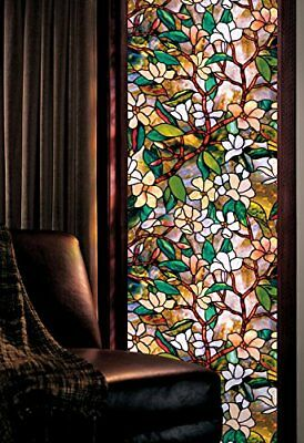 """Artscape Magnolia Window Film Visual Effect Textured Stained Glass 24"""" x 36"""" New"""