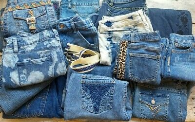 Jean Denim Craft Lot 11 lb For Quilting DIY pants lot Pockets 15 pc. Belt Purse