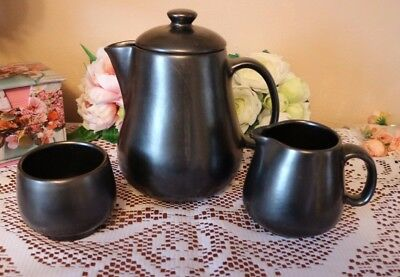PRINKNASH POTTERY Tea Pot Milk Jug & Sugar Basin PEWTER LUSTRE 3 piece TEA SET