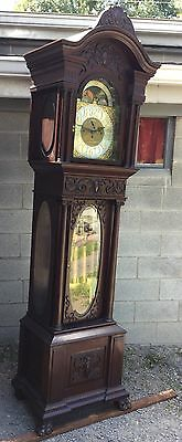 Carved Mahogany 5 Tube Grandfather Clock