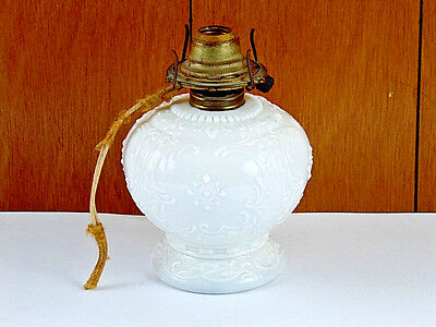 """Antique Art Nouveau Milk Glass Converted Oil to Electric Table Lamp 8"""" Tall"""