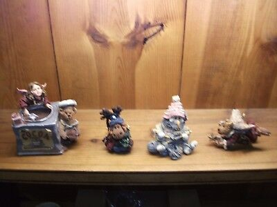 Boyds The Folkstone Collection -milken moose cocoa music box pearl snowman angel