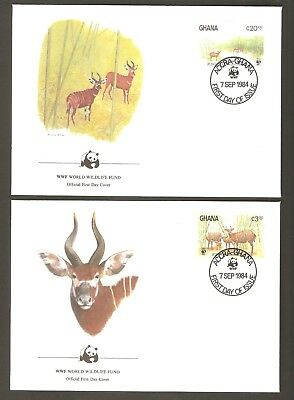 1984   GHANA  -  4 x WWF FIRST DAY COVERS  -  ANTELOPES
