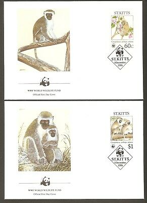 1986   ST. KITTS -  4 x WWF FIRST DAY COVERS  -  GREEN MONKEY