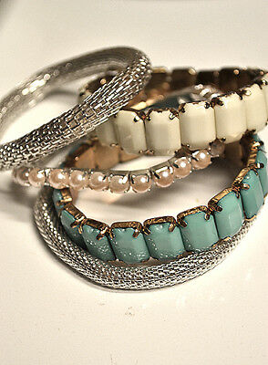 Lot of 5 TEEN Girls STRETCH Bracelets Silver, Turquoise and Pearl FASHIONISTA!!!