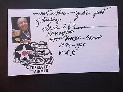 Tuskegee Airmen Fred T. Johnson WW2 Autographed 3x5 Index Card