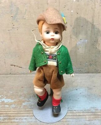 """Vintage Madame Alexander Doll 8"""" Tyrolean Boy 1960's, With Display Stand"""