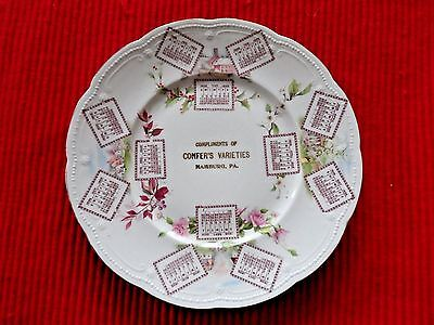 """1906"" Confer Varieties Store Hamburg Pa. 9"" Calendar Plate Excellent Condition"