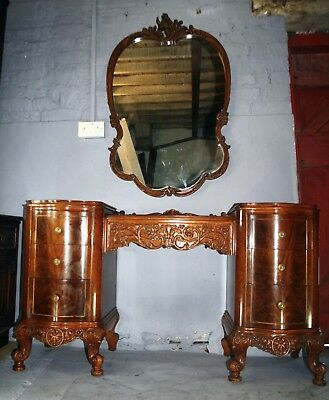 Quality American walnut rococo dressing table and matching wall mirror